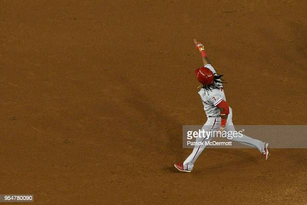 Maikel Franco of the Philadelphia Phillies celebrates after hitting a solo home run in the sixth inning against the Washington Nationals at Nationals...