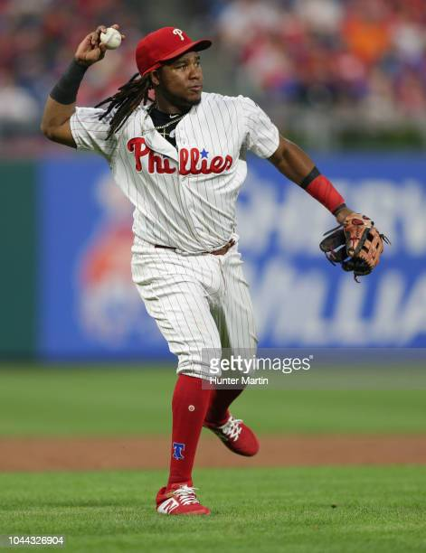 Maikel Franco of the Philadelphia Phillies during a game against the Washington Nationals at Citizens Bank Park on August 27 2018 in Philadelphia...