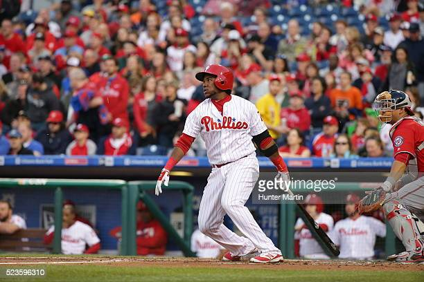 Maikel Franco of the Philadelphia Phillies during a game against the Washington Nationals at Citizens Bank Park on April 16 2016 in Philadelphia...