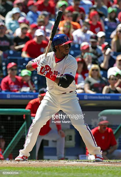 Maikel Franco of the Philadelphia Phillies during a game against the Washington Nationals at Citizens Bank Park on April 17 2016 in Philadelphia...