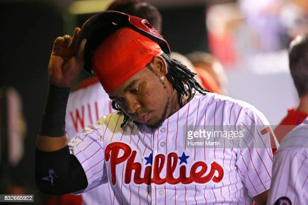 Maikel Franco of the Philadelphia Phillies during a game against the New York Mets at Citizens Bank Park on August 12 2017 in Philadelphia...