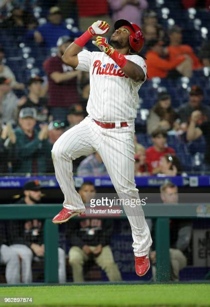 Maikel Franco of the Philadelphia Phillies during a game against the San Francisco Giants at Citizens Bank Park on May 9 2018 in Philadelphia...
