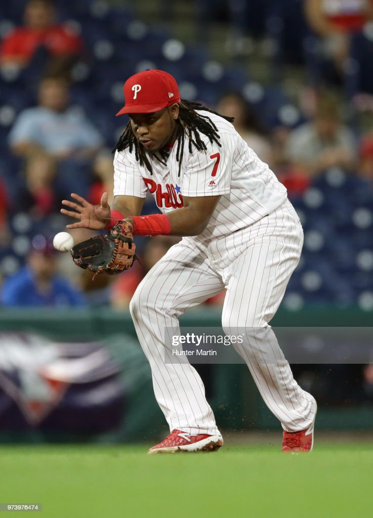 Maikel Franco #7 of the Philadelphia Phillies fields a ground ball in the ninth inning during a game against the Colorado Rockies at Citizens Bank Park on June 13, 2018 in Philadelphia, Pennsylvania. The Rockies won 7-2.