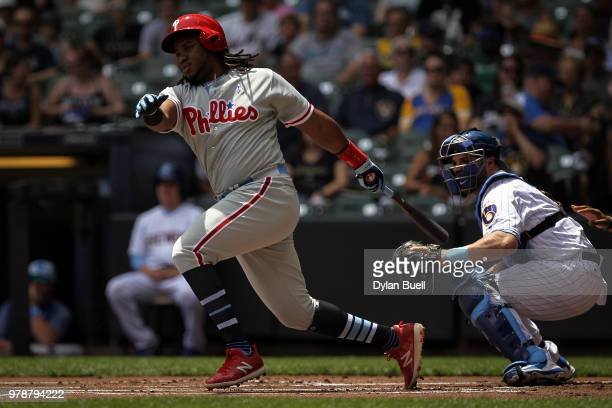 Maikel Franco of the Philadelphia Phillies grounds into a double play in the first inning against the Milwaukee Brewers at Miller Park on June 17...