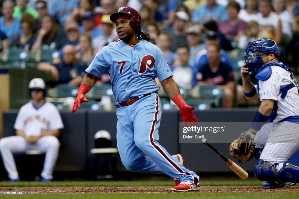 Maikel Franco #7 of the Philadelphia Phillies grounds out in the sixth inning against the Milwaukee Brewers at Miller Park on July 15, 2017 in Milwaukee, Wisconsin.