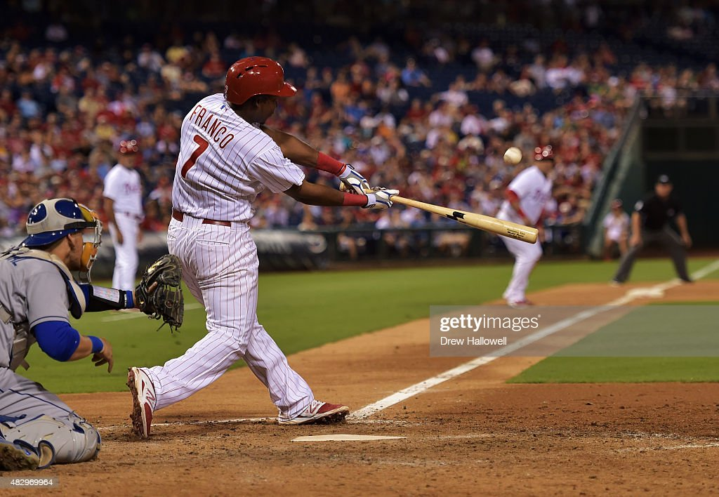 Maikel Franco #7 of the Philadelphia Phillies hits a grand slam in the seventh inning against the Los Angeles Dodgers at Citizens Bank Park on August 4, 2015 in Philadelphia, Pennsylvania.