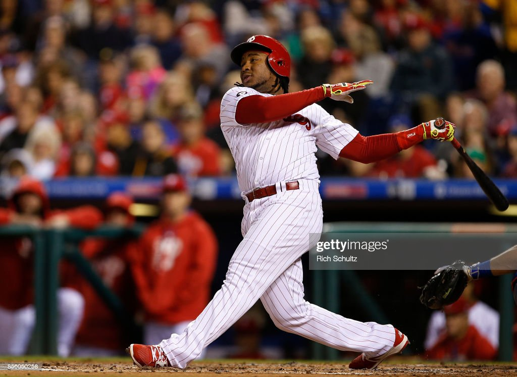 Maikel Franco #7 of the Philadelphia Phillies hits a home run during the second inning of a game against the New York Mets at Citizens Bank Park on September 30, 2017 in Philadelphia, Pennsylvania.