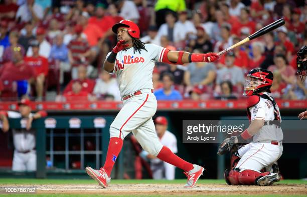Maikel Franco of the Philadelphia Phillies hits a home run in the fifth inning against the Cincinnati Reds at Great American Ball Park on July 26...