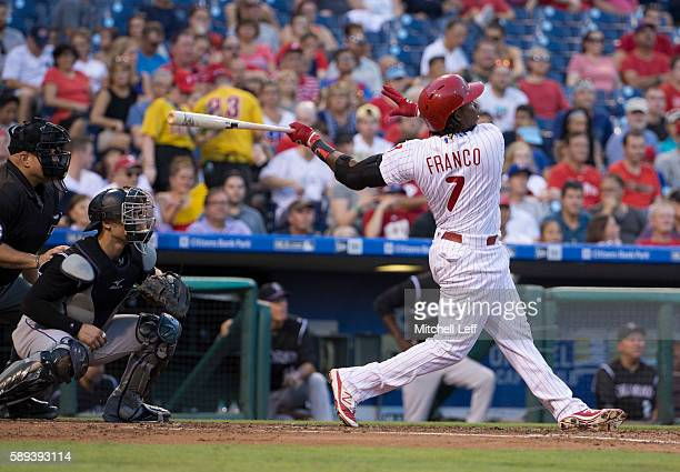 Maikel Franco of the Philadelphia Phillies hits a three home run in the bottom of the first inning against the Colorado Rockies at Citizens Bank Park...