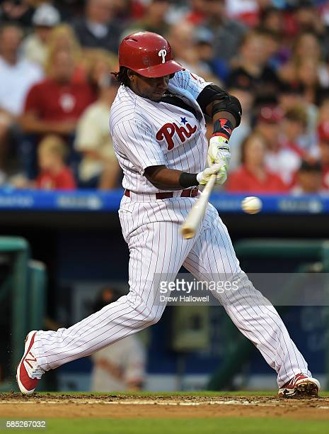 Maikel Franco of the Philadelphia Phillies hits a three run home run in the second inning against the San Francisco Giants at Citizens Bank Park on...