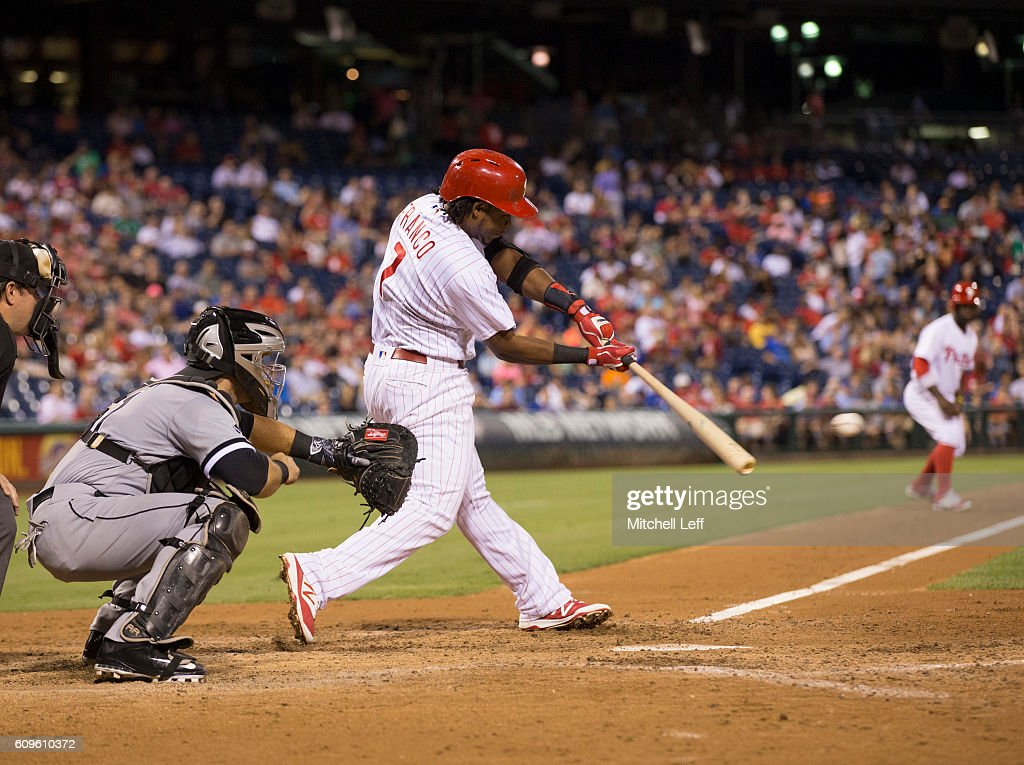 Maikel Franco #7 of the Philadelphia Phillies hits a two RBI single in the bottom of the sixth inning against the Chicago White Sox at Citizens Bank Park on September 21, 2016 in Philadelphia, Pennsylvania. The Phillies defeated the White Sox 8-3.