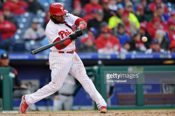 Maikel Franco of the Philadelphia Phillies hits a two run home in the seventh inning against the Miami Marlins at Citizens Bank Park on April 5 2018...