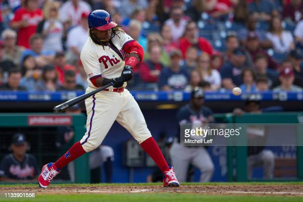 Maikel Franco of the Philadelphia Phillies hits a two run home run in the bottom of the fourth inning against the Atlanta Braves at Citizens Bank...