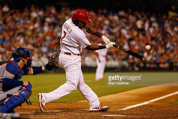 Maikel Franco of the Philadelphia Phillies hits a two run home run in the seventh inning of the game against the Los Angeles Dodgers at Citizens Bank...