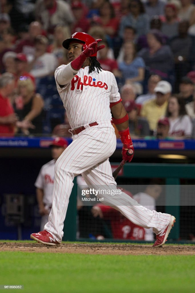 Maikel Franco #7 of the Philadelphia Phillies hits an RBI double in the bottom of the fifth inning against the Atlanta Braves at Citizens Bank Park on May 23, 2018 in Philadelphia, Pennsylvania. The Phillies defeated the Braves 4-0.