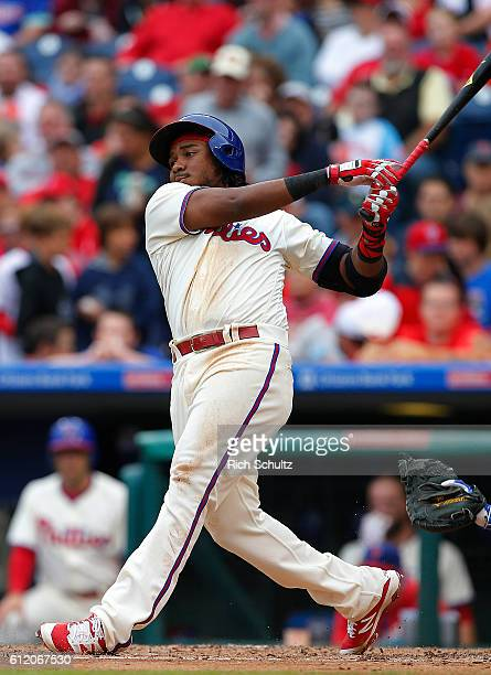 Maikel Franco of the Philadelphia Phillies hits an RBI single against the New York Mets during the third inning of a game at Citizens Bank Park on...