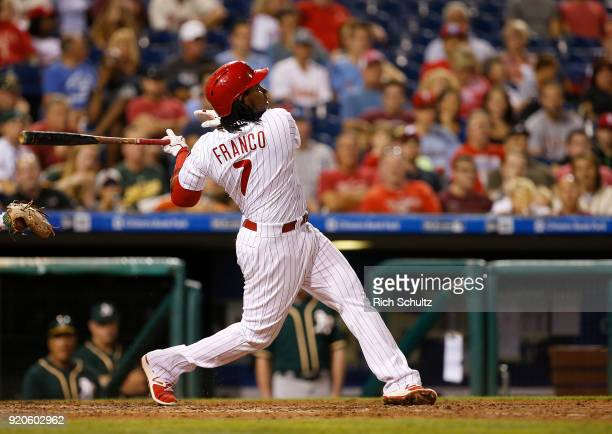 Maikel Franco of the Philadelphia Phillies in action against the Oakland Athletics during a game at Citizens Bank Park on September 15 2017 in...