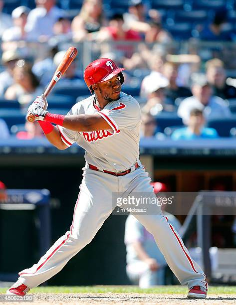 Maikel Franco of the Philadelphia Phillies in action against the New York Yankees at Yankee Stadium on June 24 2015 in the Bronx borough of New York...