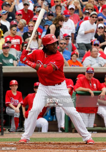 Maikel Franco of the Philadelphia Phillies in action against the Boston Red Sox during a spring training game at Spectrum Field on March 12 2017 in...