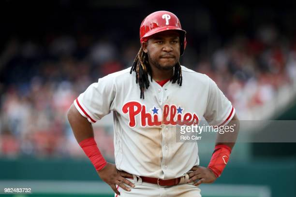 Maikel Franco of the Philadelphia Phillies looks on during a pitching change against the Washington Nationals at Nationals Park on June 23 2018 in...