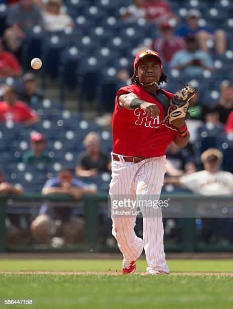 Maikel Franco of the Philadelphia Phillies plays against the San Francisco Giants at Citizens Bank Park on August 4 2016 in Philadelphia Pennsylvania...