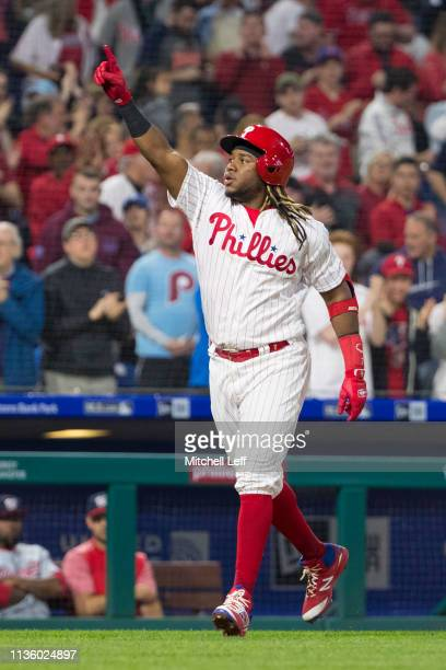 Maikel Franco of the Philadelphia Phillies reacts after hitting a solo home run in the bottom of the third inning against the Washington Nationals at...
