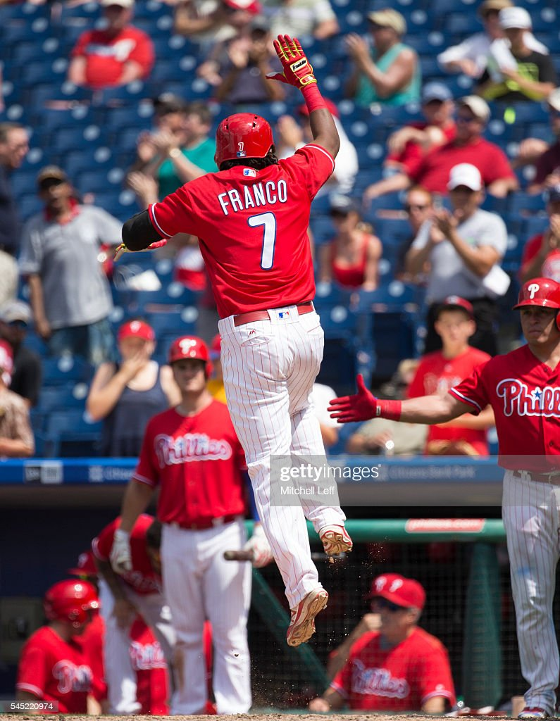 Maikel Franco #7 of the Philadelphia Phillies reacts after hitting a solo home run in the bottom of the sixth inning against the Atlanta Braves at Citizens Bank Park on July 6, 2016 in Philadelphia, Pennsylvania. The Phillies defeated the Braves 4-3.