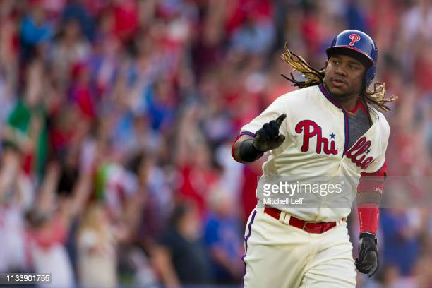 Maikel Franco of the Philadelphia Phillies reacts after hitting a two run home run in the bottom of the fourth inning against the Atlanta Braves at...