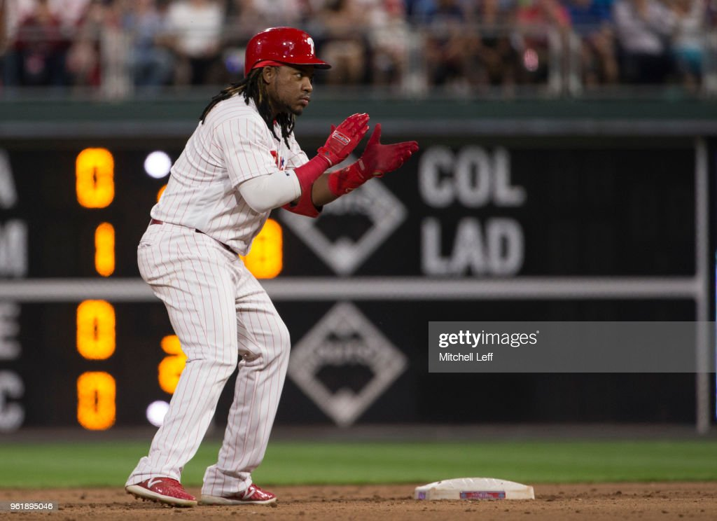 Maikel Franco #7 of the Philadelphia Phillies reacts after hitting an RBI double in the bottom of the fifth inning against the Atlanta Braves at Citizens Bank Park on May 23, 2018 in Philadelphia, Pennsylvania. The Phillies defeated the Braves 4-0.