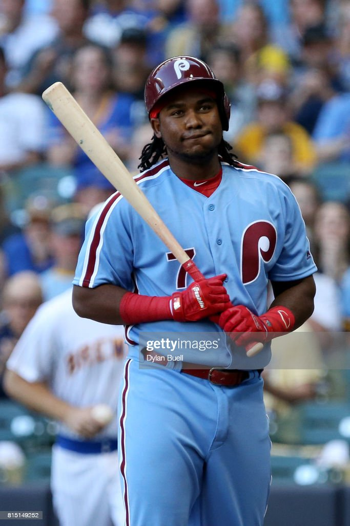 Maikel Franco #7 of the Philadelphia Phillies reacts after striking out in the first inning against the Milwaukee Brewers at Miller Park on July 15, 2017 in Milwaukee, Wisconsin.