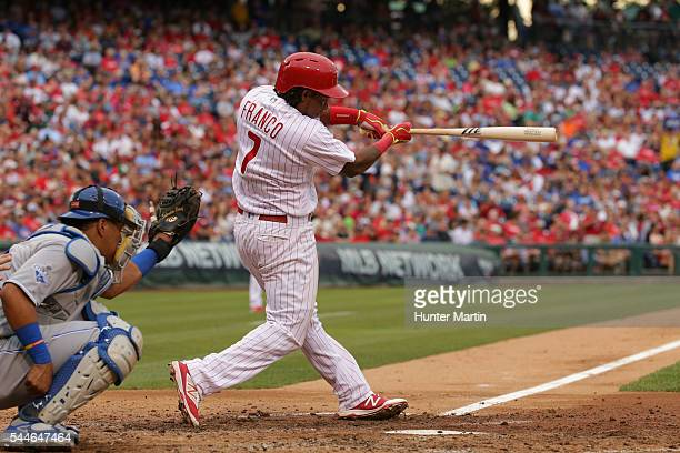 Maikel Franco of the Philadelphia Phillies singles in the fourth inning during a game against the Kansas City Royals at Citizens Bank Park on July 2...