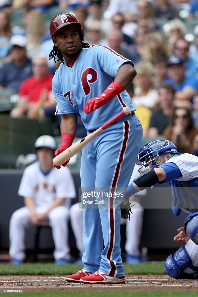 Maikel Franco #7 of the Philadelphia Phillies walks in the first inning against the Milwaukee Brewers at Miller Park on July 16, 2017 in Milwaukee, Wisconsin.