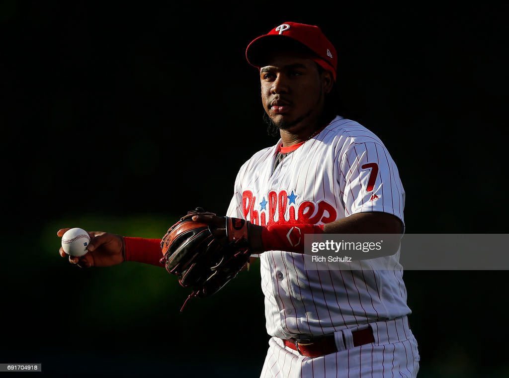 Maikel Franco #7 of the Philadelphia Phillies warms up before a game against the San Francisco Giants at Citizens Bank Park on June 2, 2017 in Philadelphia, Pennsylvania.