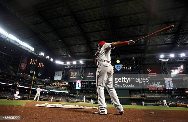 Maikel Franco of the Philadelphia Phillies warms up before batting during the top of the fifth inning of the Major League Baseball game between the...