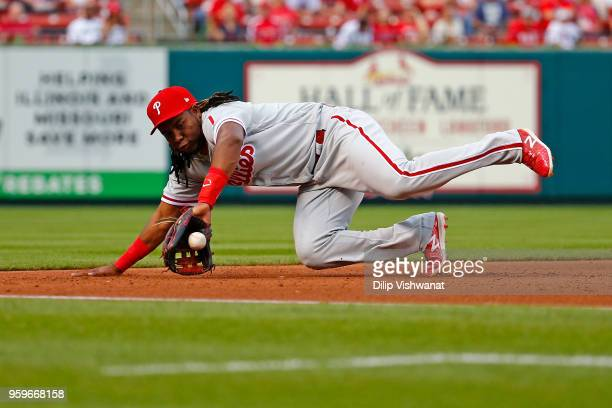 Maikel Franco of the the Philadelphia Phillies fields a ground ball against the St Louis Cardinals in the fourth inning at Busch Stadium on May 17...