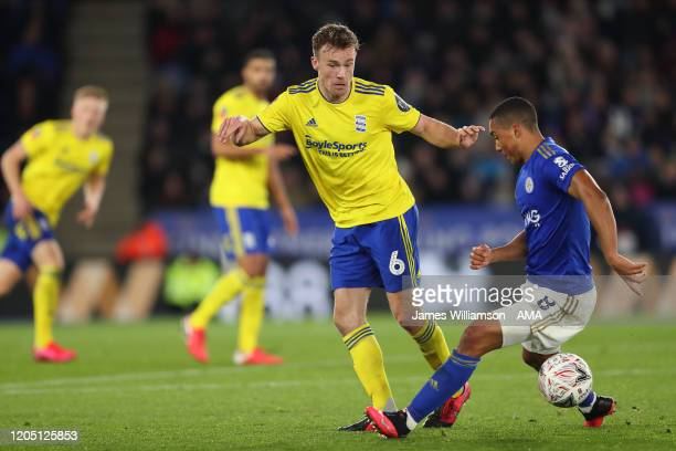 Maikel Kieftenbeld of Birmingham City and Youri Tielemans of Leicester City during the FA Cup Fifth Round match between Leicester City and Birmingham...
