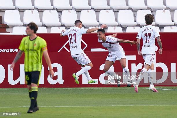 Maikel Mesa of Albacete Balompie celebrates after scoring his team's first goal during the La Liga Smartbank match between Albacete Balompie and Real...