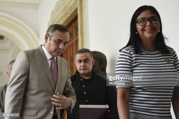 Maikel Moreno president of the Supreme Court of Venezuela from left TarekWilliam Saab Venezuela's chief prosecutor and Delcy Rodriguez president of...