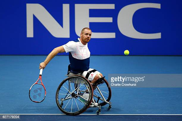 Maikel Scheffers of Holland in action during his round robin mens singles match against Gordon Reid of Great Britain on Day 2 of the NEC Wheelchair...