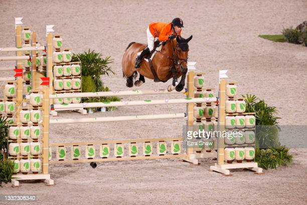 Maikel van der Vleuten of Team Netherlands riding Beauville Z competes in the Equestrian Jumping Individual Final on day twelve of the Tokyo 2020...