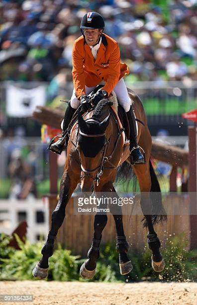 Maikel Vanuatu der Vleuten of Netherlands rides Verdi during the Jumping Team Round 2 during Day 12 of the Rio 2016 Olympic Games at the Olympic...