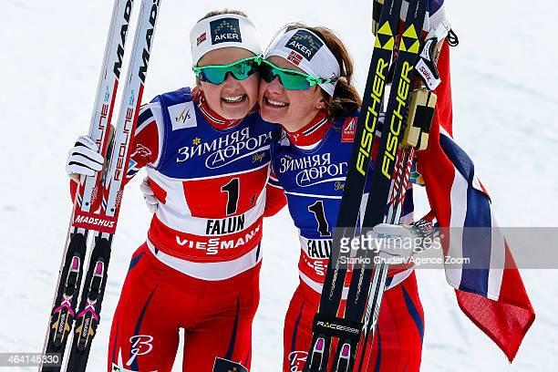 Maiken Caspersen Falla and Ingvild Flugstad Oestberg of Norway take 1st place during the FIS Nordic World Ski Championships Men's and Women's...