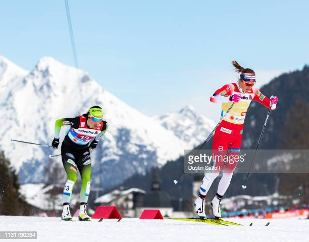 Maiken Caspersen Falla of Norway and Anamarija Lampic of Slovenia compete in the Cross Country Women's Team Sprint race during the FIS Nordic World...