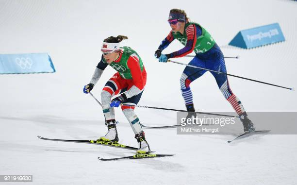 Maiken Caspersen Falla of Norway and Jessica Diggins of the United States compete during the Cross Country Ladies' Team Sprint Free Final on day 12...