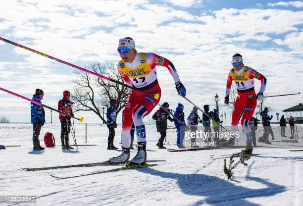 Maiken Caspersen Falla of Norway and Tiril Udnes Weng of Norway compete in the Women's 10km freestyle pursuit during the FIS Cross Country Ski World...