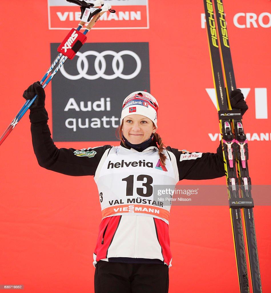Maiken Caspersen Falla of Norway celebrates during the women's Sprint F race on December 31, 2016 in Val Mustair, Switzerland.