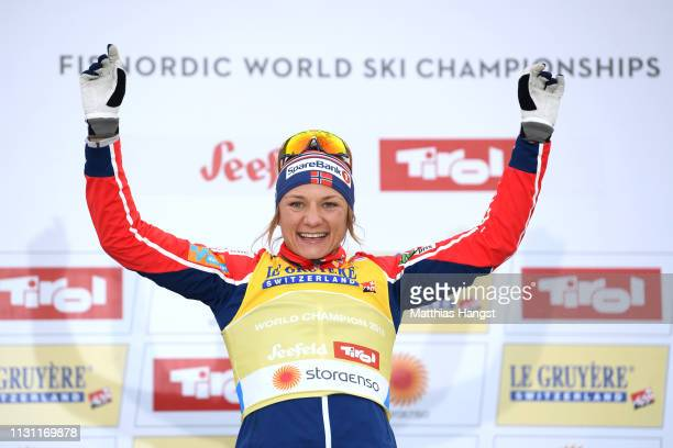 Maiken Caspersen Falla of Norway celebrates victory in the Women's Cross Country Sprint Final at the Stora Enso FIS Nordic World Ski Championships on...