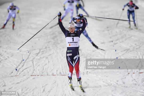 Maiken Caspersen Falla of Norway celebrates winning the gold medal in the Women's 1.4KM Cross Country Sprint final during the FIS Nordic World Ski...
