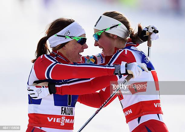 Maiken Caspersen Falla of Norway celebrates winning the gold medal with team mate Ingvild Flugstad Oestberg in the Women's CrossCountry Team Sprint...