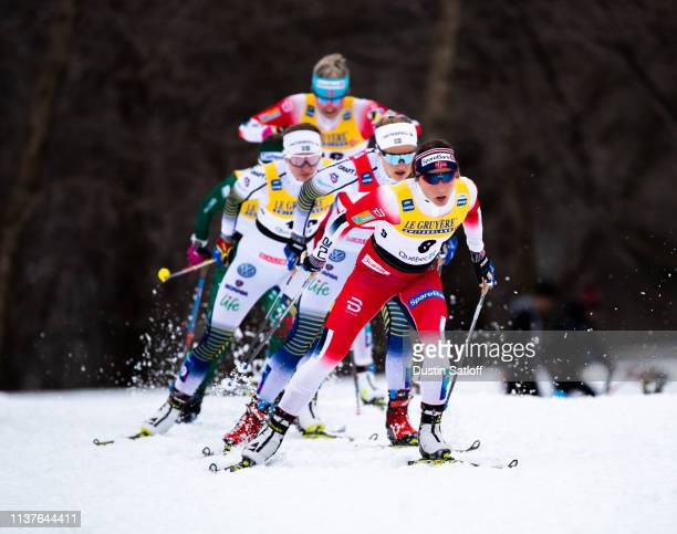 Maiken Caspersen Falla of Norway competes in the sprint quarterfinal heat during the FIS Cross Country Ski World Cup Final on March 22 2019 in Quebec...